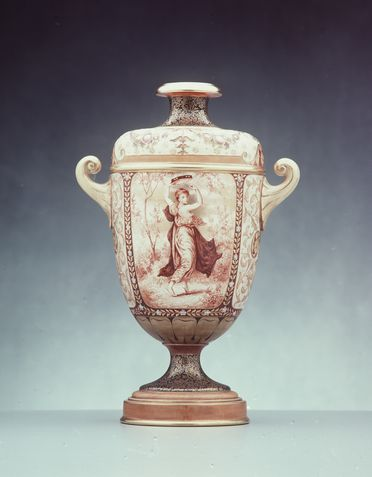 A2778-131 Vase, dancing girl and swans design, earthenware, hand painted by John P Hewitt for Doulton & Co, Burslem, England, 1885-1891