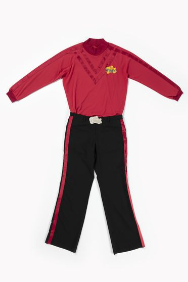 2020/123/9 Costume, 'Red Wiggle', textile / metal / plastic, worn by Simon Pryce, skivvy designed by Maria Petrozzi, pants made by Casa Adamo, Sydney, New South Wales, Australia, for The Wiggles International Pty Limited, Sydney, New South Wales, Australia, 2012-2020