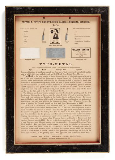 P452 Object lesson card, part of collection, 'Type-metal', framed, metal / cardboard / glass / wood, published by Oliver and Boyd, Edinburgh, Scotland, 1880-1884