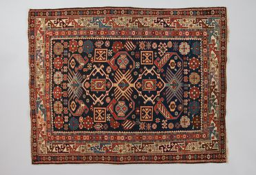 2010/33/3 Knotted pile rug, with Caucasian design motifs, wool, made in the Shirvan or Kuba district, Azerbaijan (eastern Caucasus), 1875-1900