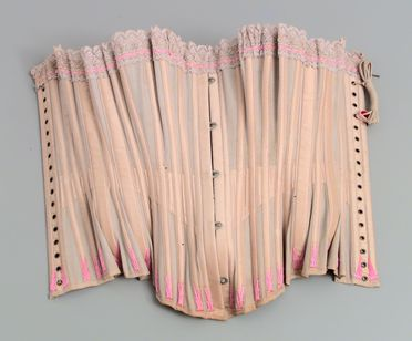 97/92/8-9 Corset sections (2), part of collection, 'Daydream Corset', cotton / silk / textile / metal, maker unknown, place of production unknown, part of shop stock, from the Wong family store, Bolong via Crookwell, New South Wales, Australia, c. 1890-1916