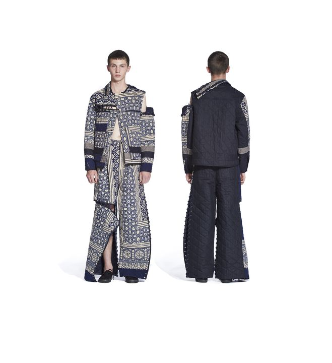 2017/59/1 Outfit, mens, comprising jacket, trousers and pair of plimsolls, Spring-Summer 2017, Look 7, cotton / wool / woodblock printed / hand quilted, designed by Craig Green, London, England, 2016. Click to enlarge.