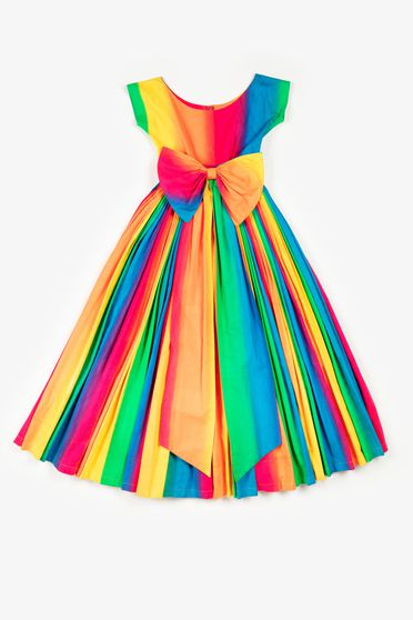 90/666 Evening dress, 'Rainbow', womens, hand painted cotton, Linda Jackson, Sydney, New South Wales, Australia, 1988