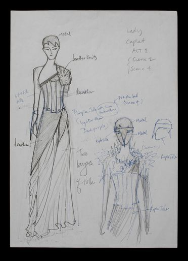 2019/18/51 Drawings (22), Costume sketches for Sydney Dance Company productions, ink on paper, designed and made by Akira Isogawa for his collaborations with Graeme Murphy AO for the Sydney Dance Company and the Australian Ballet, c. 2004-2011