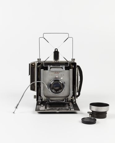 2011/59/1-1 Camera, 'Linhof Technika', metal / plastic / glass, made by Linhof, Germany, c. 1959, used by Max Dupain, Sydney, New South Wales, Australia, 1959-1980s