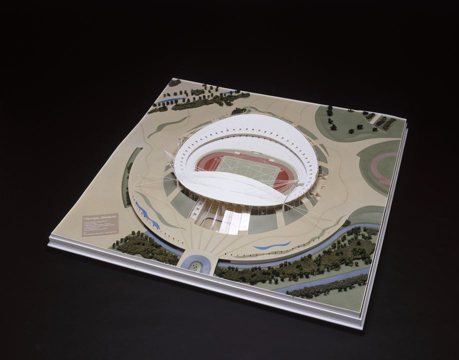 97/123/1 Model, architectural, Sydney Olympic Stadium, Philip Cox Richardson Taylor in association with Peddle Thorp Connell Wagner, for the Sydney Olympics 2000 Bid Ltd, Sydney, 1992.. Click to enlarge.