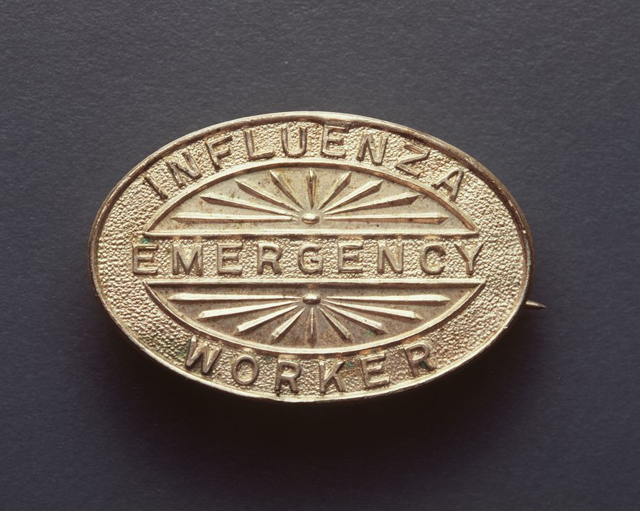 93/380/1 Badge, 'Influenza Emergency Worker', metal, made by Angus & Coote Ltd, Sydney, New South Wales, Australia, c. 1919. Click to enlarge.