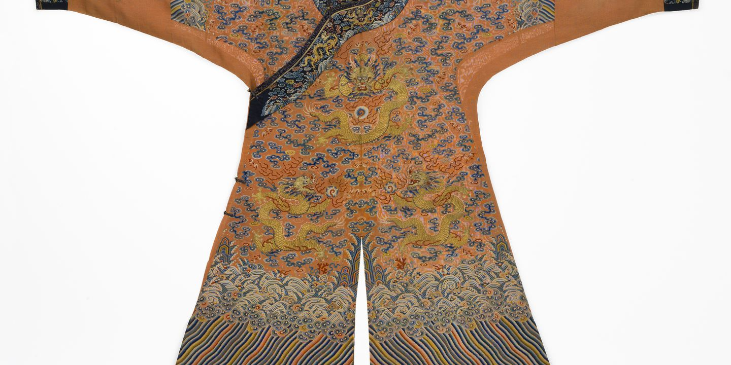 89/494 Imperial dragon robe, semi-formal, (jifu), orange silk gauze / silk / metallic thread, China, c. 1800. Click to enlarge.