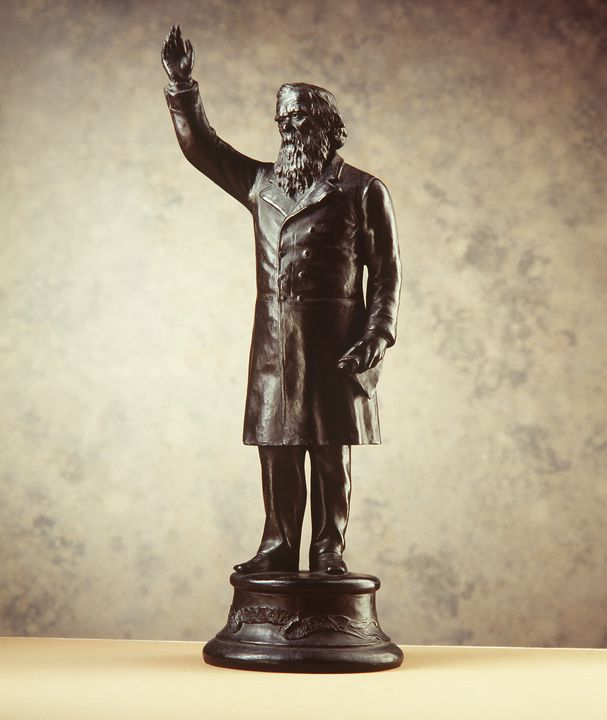 A7335 Figure, Sir Henry Parkes, 'The Crimson Thread of Kinship', terracotta / bronze, Nelson Illingworth, Sydney, New South Wales, Australia, c. 1898. Click to enlarge.