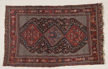 2013/3/1 Rug, knotted pile, wool, woven by a Khamseh woman in southern Iran (Persia), about 1880