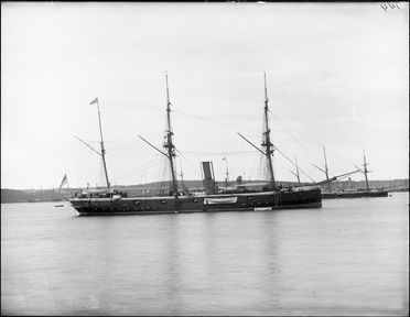 2008/165/1-12 Glass plate negative (1 of 193), No.144, depicting Royal Navy cruiser in Farm Cove, Sydney, warship of the Imperial Squadron, photographer possibly Arthur Phillips, Sydney, New South Wales, Australia, 1880s