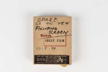 2011/59/1-2/1 Box, 'Kodak sheet film', containing envelope and glass focusing screen, cardboard / paper, box made by Kodak (Australasia) Pty Ltd, Melbourne, Victoria, Australia, 1959, used by Max Dupain, Sydney, New South Wales, 1959-1980s