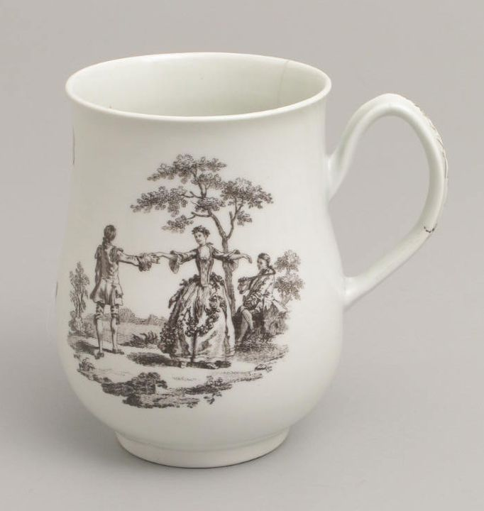 2005/200/28 Mug, bell shaped, transfer printed scenes, soaprock porcelain, made by Worcester, Worcester, England, 1756-1768. Click to enlarge.
