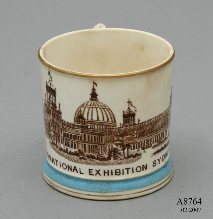A8764 Mug, Garden Palace, porcelain, made by Powell, Bishop & Stonier, England, 1875-1879. Click to enlarge.