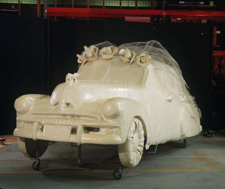 89/261 Sculpture, 'Bridal Costume for an FJ Holden, discarded', fibreglass/steel, Margaret Dodd, New South Wales, Australia, 1987. Click to enlarge.