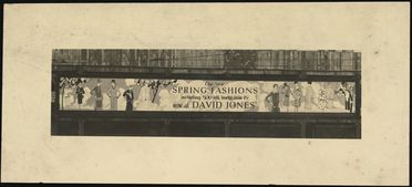 2002/105/1-2/2 Photographic print, black and white, advertising sign for David Jones advertising womens frocks, designed by Rousel Studios, Sydney, New South Wales, Australia, c 1925