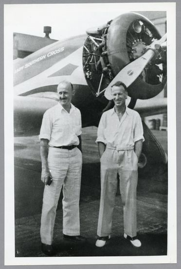 85/112-31 Photograph, black and white, Sir Charles Kingsford Smith and Captain P G Taylor, paper, photographer unknown, Honolulu, Hawaii, United States of America, 1934