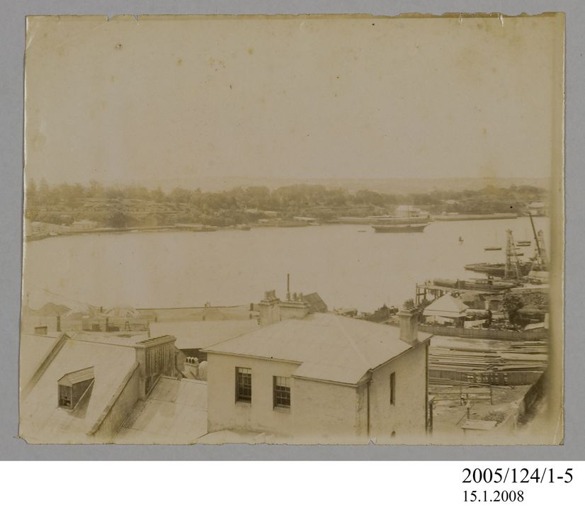 2005/124/1-5 Photograph, part of collection owned by James Short, sepia toned, possibly depicting Woolloomooloo Bay, paper, photographer unknown, Sydney, New South Wales, Australia, possibly 1890. Click to enlarge.