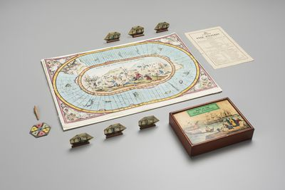 A11050 Board game, 'Race to the gold diggings of Australia', linen / wood / paper, maker unknown, England, 1850-1869.