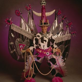 96/298/1 Performance costume (16), 'Cowdyke', Gay and Lesbian Mardi Gras, textile/plastic/metal, designed, made and worn by Philippa Playford, made in Stanwell Tops, Sydney, Australia, 1995