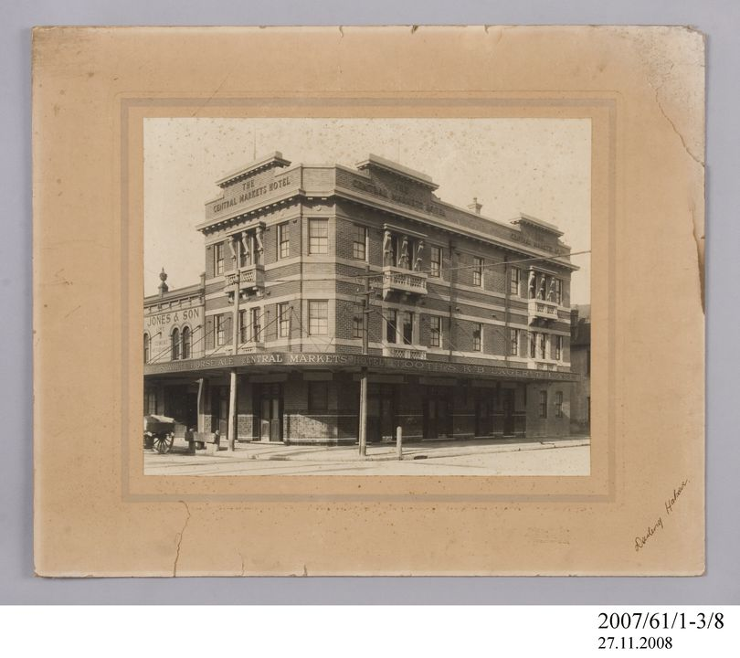 2007/61/1-3/8 Photographic print, black and white, mounted, exterior of Central Markets Hotel, Darling Harbour, Milton Kent, Sydney, New South Wales, Australia, c.1924. Click to enlarge.
