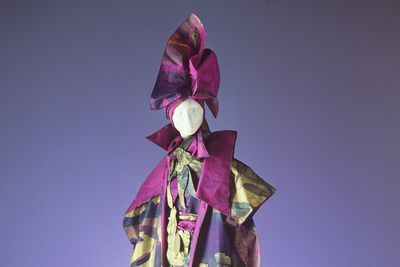 86/1789 Outfit, womens, 'Purple Bush', screen printed silk taffeta, designed and made by Linda Jackson, Sydney, Australia 1986