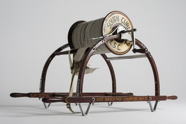 85/826 Surf lifesaving reel, wooden, used by South Curl Curl Surf Life Saving Club, Curl Curl, New South Wales, Australia, c. 1960