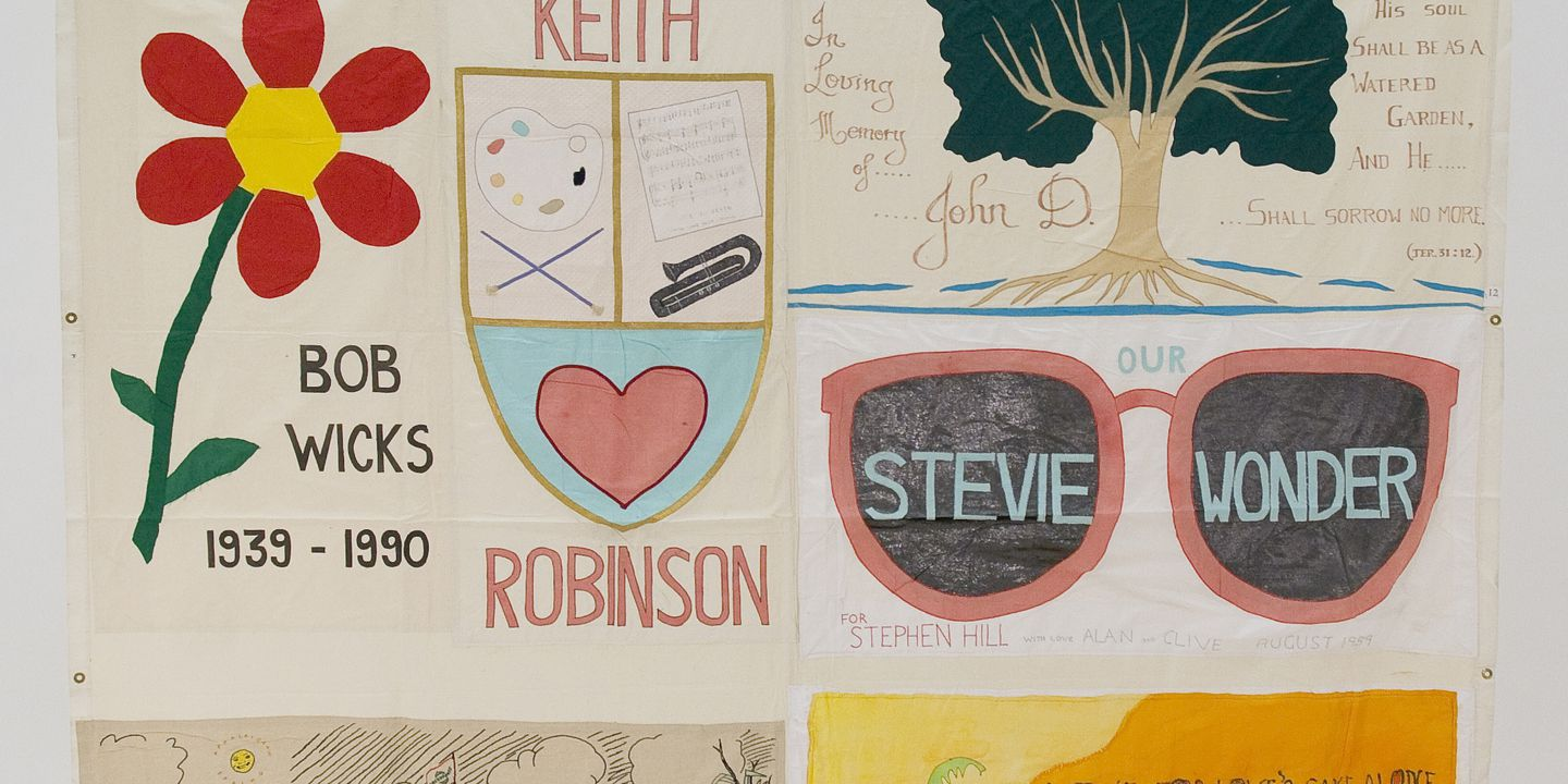 2011/109/1 Quilt, Australian AIDS Memorial Quilt, remembering Christian Carrington, Peter Nonnemacher, Bob Wicks, Keith Robinson, John D, Stephen Hill and Scott Edmunds, various makers and places of manufacture, Australia, 1989-1990. Click to enlarge.
