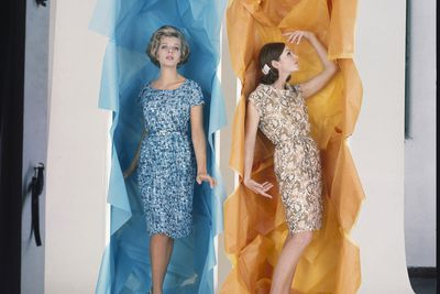 2009/43/1-5/25/1 Transparencies (12), colour, two models (Gay Vardis and Jan Meade), modelling sheath dresses in boxes, Bruno Benini, Melbourne, Victoria, Australia, 1960s