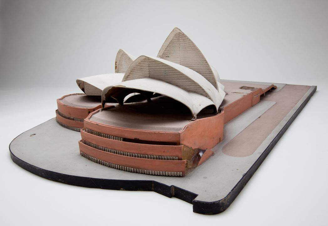2013/66/1 Architectural model, Sydney Opera House, 1:200 scale, cast resin / metal / paint, maker unknown, Australia, 1958-1959. Click to enlarge.