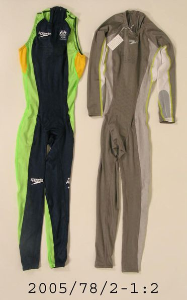 2005/78/2 Swimsuits (2), Speedo Fastskin FS11, bodysuits, training suit and team suit, made of polyester/elastane, made by Speedo International for the Australian swimming team to wear to the 2004 Athens Olympic Games, made in Australia and Sri Lanka, 2004.