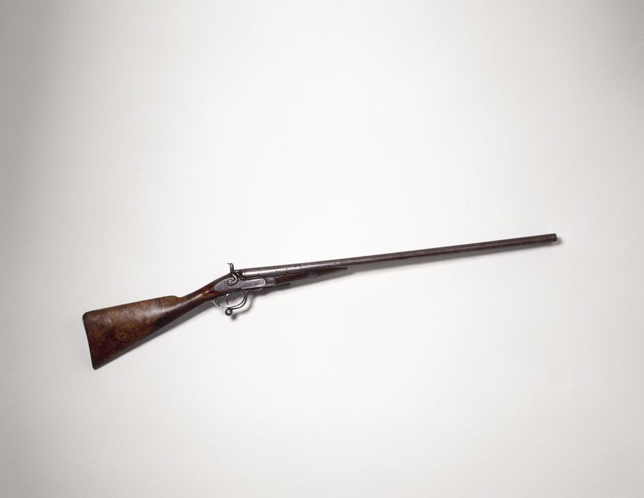 H8039 Shot gun, 12 gauge, double barrel breech loading, metal / wood, reputed to be similar to the shotgun used to shoot the bushranger Ben Hall, made by Bartholemeo Pedrotta, Bathurst, NSW, Australia, c 1860. Click to enlarge.