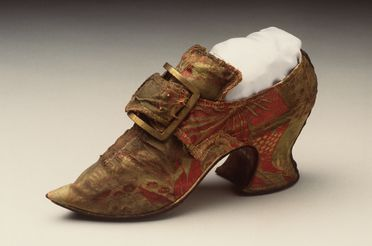 H4448-51 Buckle shoe with buckle, part of Joseph Box collection, womens, silk / leather / hessian / metal / paper, maker unknown, England, c. 1735-1900