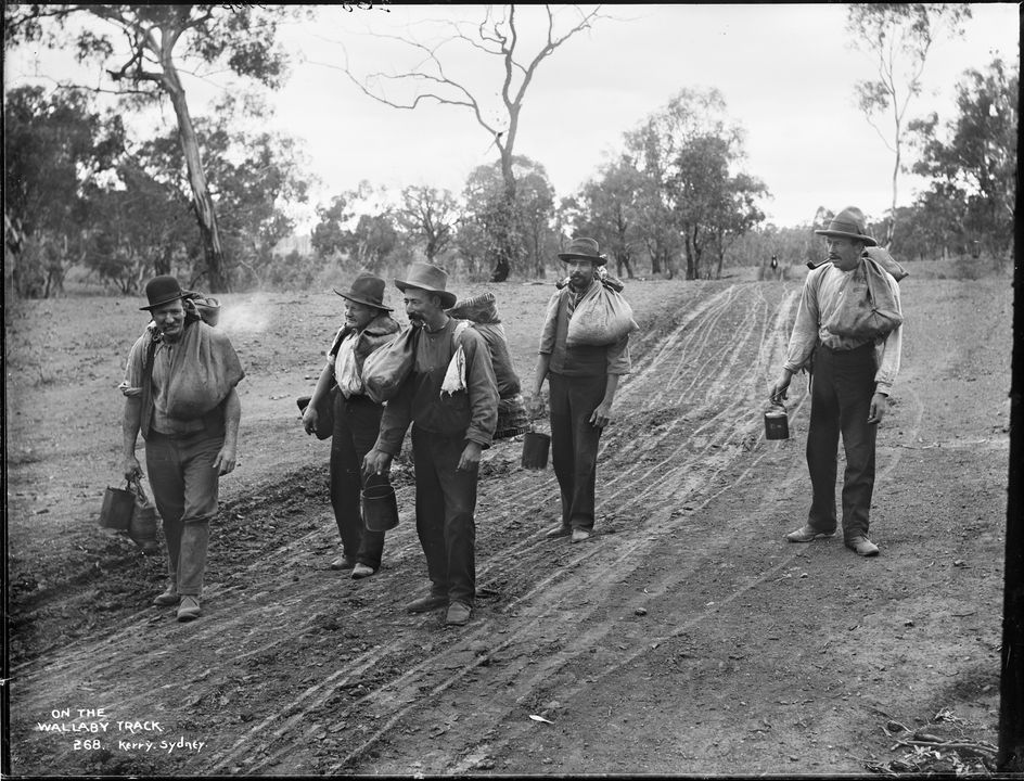 85/1284-171 Photographic negative, five swagmen 'On the Wallaby Track', glass / gelatin emulsion, photographed by George Bell (attributed), published by Kerry and Co, Sydney, New South Wales, Australia, 1890-1900. Click to enlarge.