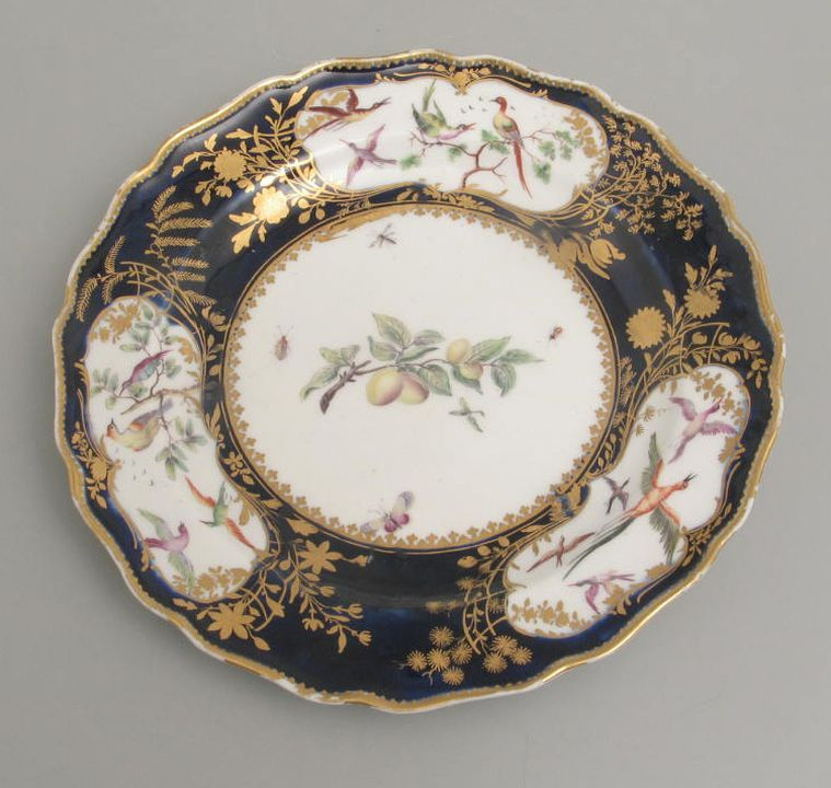 2005/200/27 Plate, bone china, made by Chelsea Porcelain Works, England, 1757-1769. Click to enlarge.