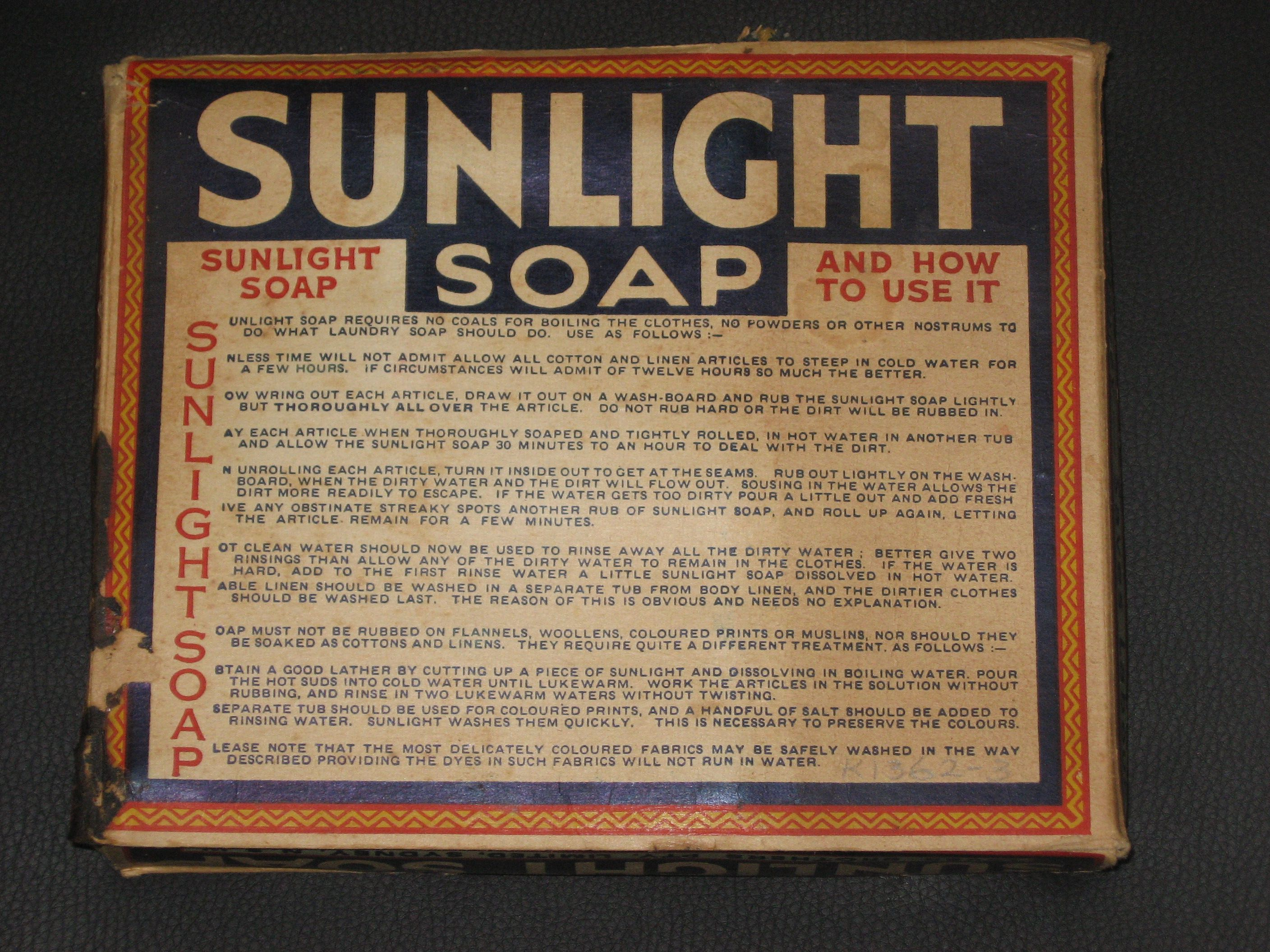 Packaged soap (4), 'Sunlight', paper / soap, made by Lever Brothers