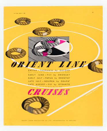 90/58-1/7/57 Proof, magazine advertisement, colour print, 'Orient Line Cruises', paper, designed by Douglas Annand for Orient Steam Navigation Company Limited (Orient Line), published in 'The Home', 1 March, Sydney, New South Wales, Australia, 1938