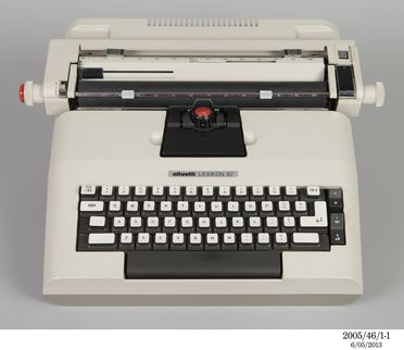 2005/46/1 Typewriter, with accessories, Olivetti 'Lexikon 82' electric portable, cast-injected ABS plastic / metal / rubber / electronic components / textile, designed by Mario Bellini in collaboration with A Macchi Cassia, G Pasini, S Pasqui, Italy, 1972-1973, made by Ing. C Olivetti & C Spa, Glasg