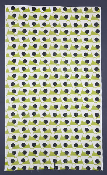 86/1863 Textile, 'Geometric', cotton, screenprint, Annan Fabrics, Mosman, Sydney, New South Wales, Australia, c. 1950