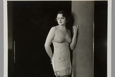 P3645-41/5 Photographic print, black & white, model wearing Berlei girdle and brassiere, Berlei Ltd, Sydney, New South Wales, Australia, c. 1930