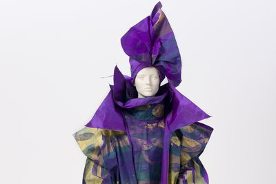 86/1789 Outfit, womens, 'Purple Bush', screen printed silk taffeta, designed and made by Linda Jackson, Sydney, New South Wales, Australia, 1986