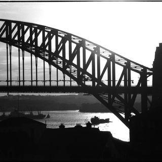 96/44/1-5/4/13/2 Negative, black and white, view of Sydney Harbour Bridge, for the book 'Sydney, A Book of Photographs', 35mm acetate film, David Mist, Sydney, New South Wales, Australia, 1969