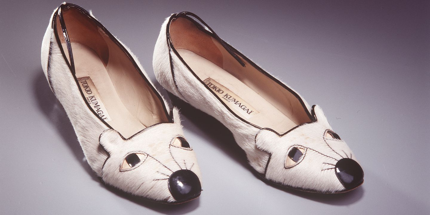95/11/1 Shoes, womens, pair, 'Mouse', pony-skin / leather, designed by Tokio Kumagai, in Paris, France, made in Italy, 1986-1987. Click to enlarge.