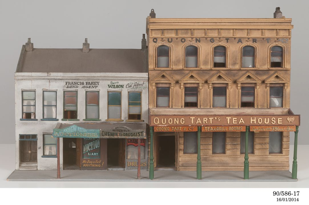 90/586-17 Architectural model, 'Quong Tart's Tea House', two buildings with associated shopfronts, part of King Street Sydney streetscape, 1870-1890, plywood / cardboard / plastic, Australian Broadcasting Commission, Sydney, Australia, 1970-1975. Click to enlarge.