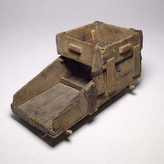 H8859 Gold washing cradle, wood / iron, designed by William Tom Jr and Edward Hargraves, made by William Tom, Ophir alluvial goldfields, New South Wales, Australia, 1851
