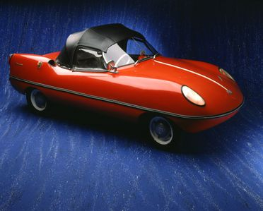89/1523 Automobile, full size, and parts, 'Goggomobil Dart', body No. 712, engine No. 02/129295, chassis No. 01127418, fibreglass / rubber / metal, designed by Bill Buckle, Sydney, New South Wales, Australia, 1959