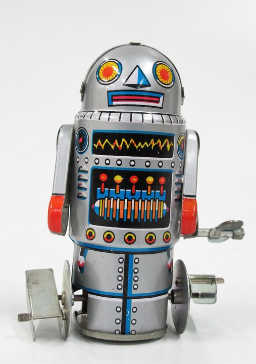 85/2573-57 Toy robot, 'Robot-7', tin plate, clockwork operated, metal, made by Noguchi, Japan, 1960s, part of the Ken Finlayson toy collection. Click to enlarge.