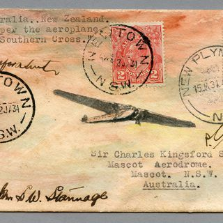 85/112-1 Philatelic cover, Southern Cross flight Australia to New Zealand, paper, painted by E A Crome, Sydney, New South Wales, Australia, 1934
