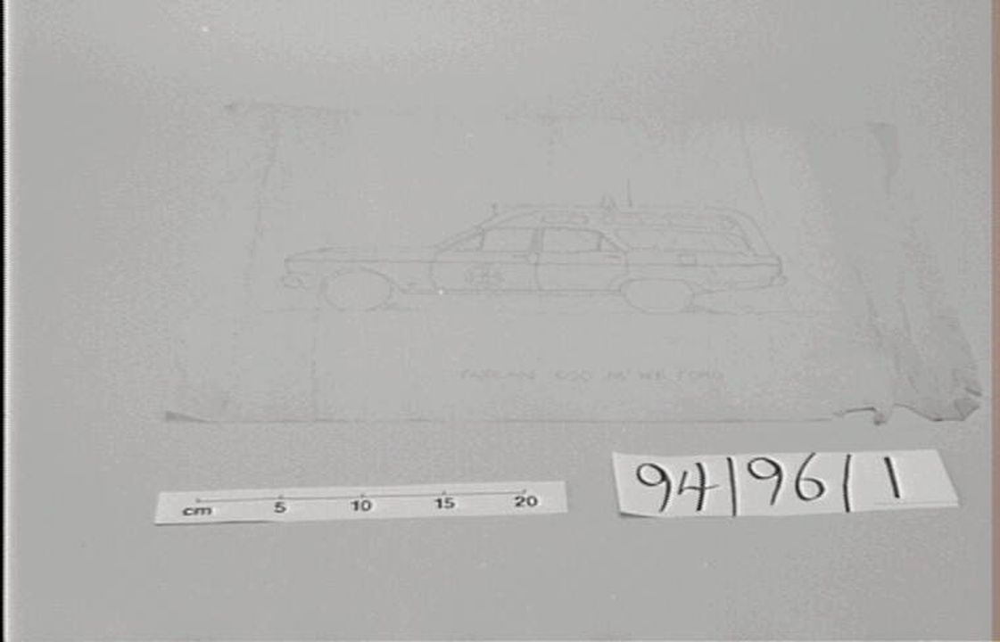 94/96/1 Technical drawing, of ambulance body, Fairlane Ford 500, tracing paper/pencil, made by William Stanley Grice/Oliver Grice, W.S. Grice Motor Body Works, 73 Carlton Crescent Summer Hill, New South Wales, Australia, 1939-1965. Click to enlarge.