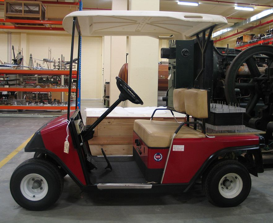2011/2/1 Electric golf cart, metal / glass / rubber / plastic, made by E-Z-Go, Augusta, Georgia, United States of America, 1992-1993, used by the University of New South Wales, Kensington, New South Wales, Australia, 1993-1997. Click to enlarge.